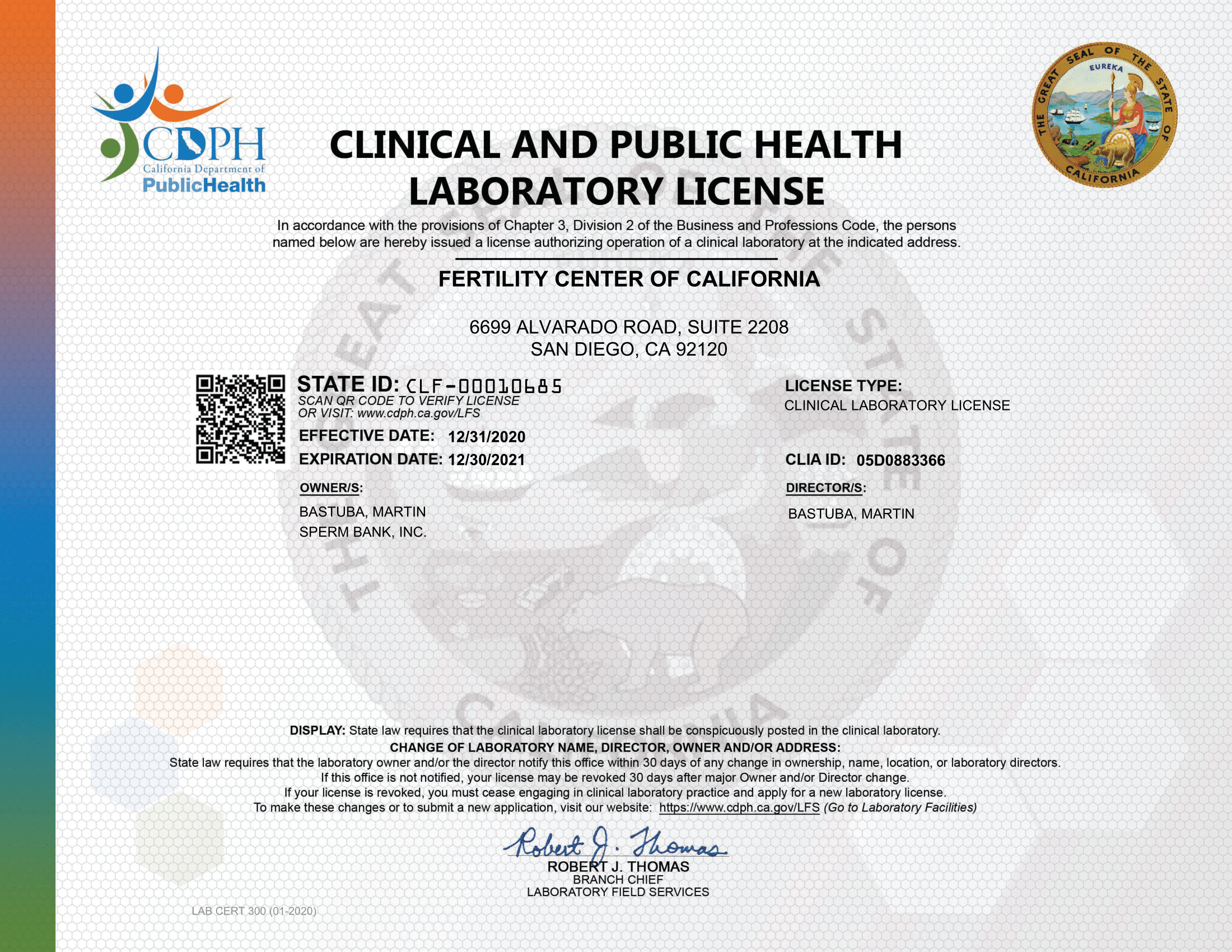 CA Reference Lab License 2020