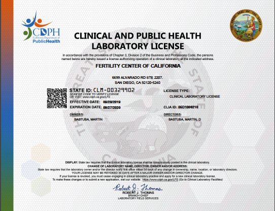 CA Physician Office Laboratory license 2019
