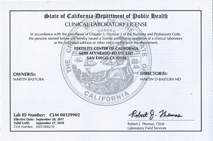 CA Physician Office Laboratory license 2018