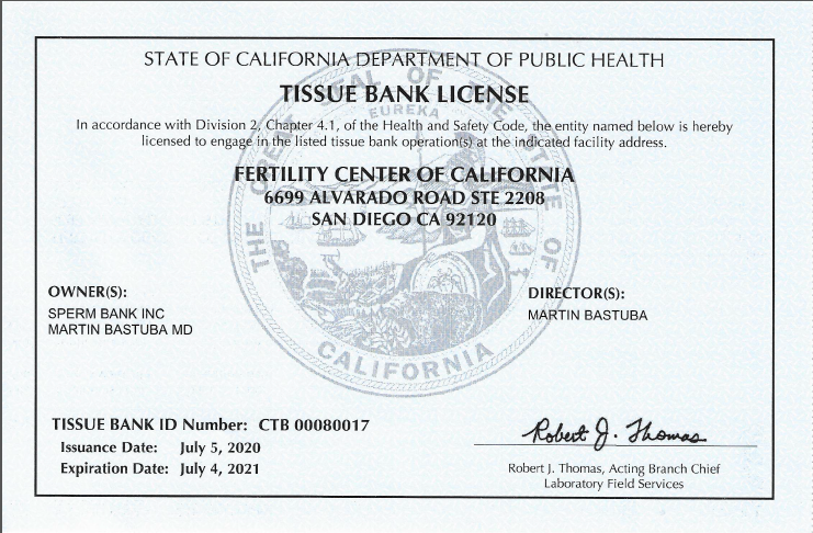 CA tissue bank license through 7.4.21