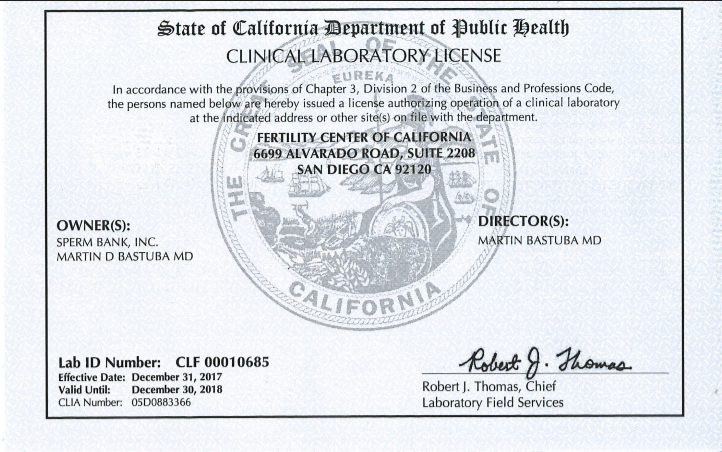 CA reference lab license 2018