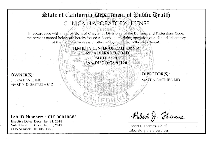 CA reference lab license 2019